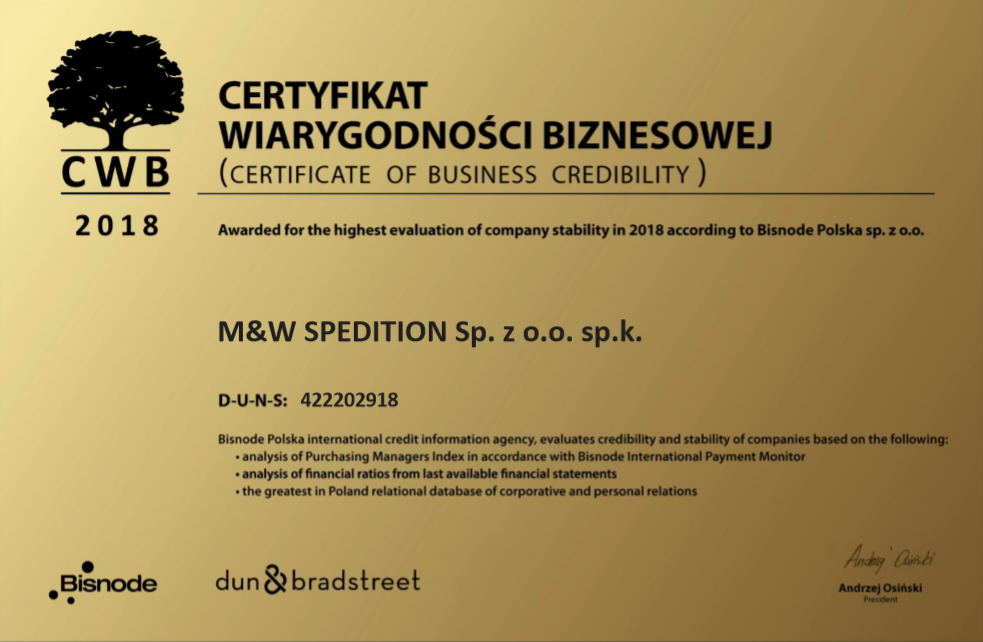 Certyficate of Business Credibility M&W Spedition EN